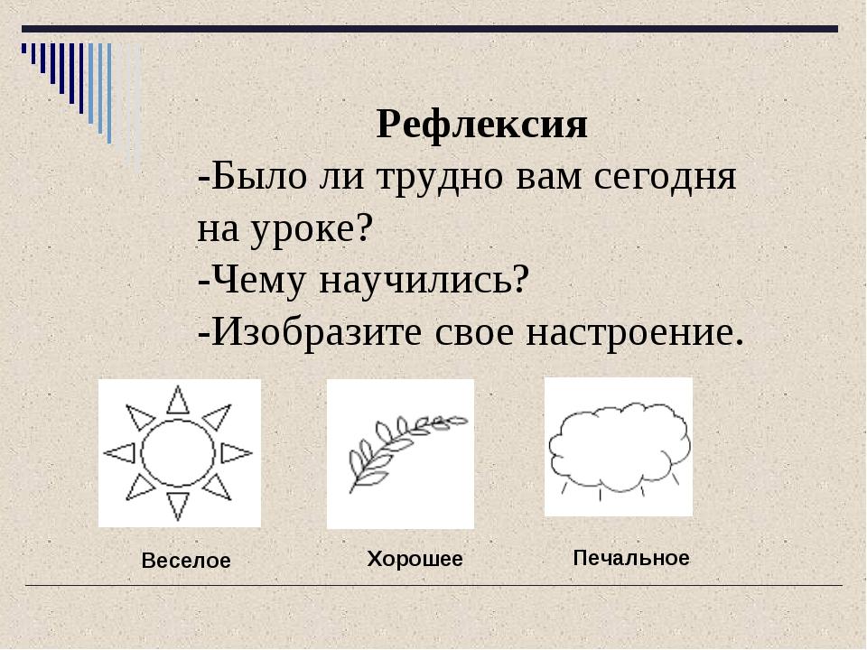 Рефлексия -Было ли трудно вам сегодня на уроке? -Чему научились? -Изобразите...