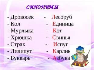 СИНОНИМЫ - Дровосек - Лесоруб - Кол - Единица - Мурлыка - Кот - Хрюшка - Свин