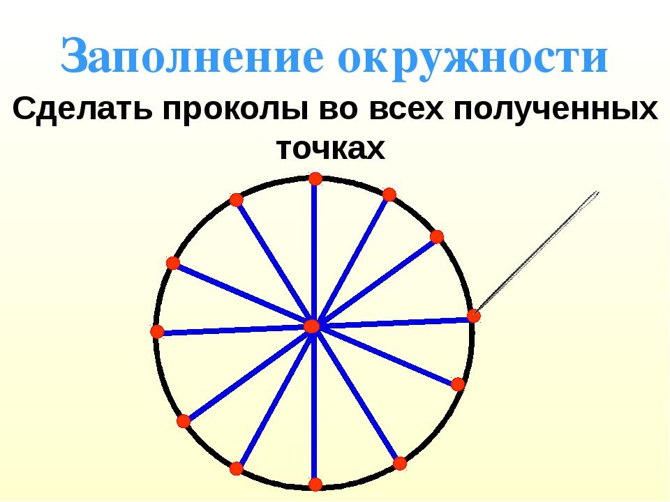 Заполнение окружности Сделать проколы во всех полученных точках