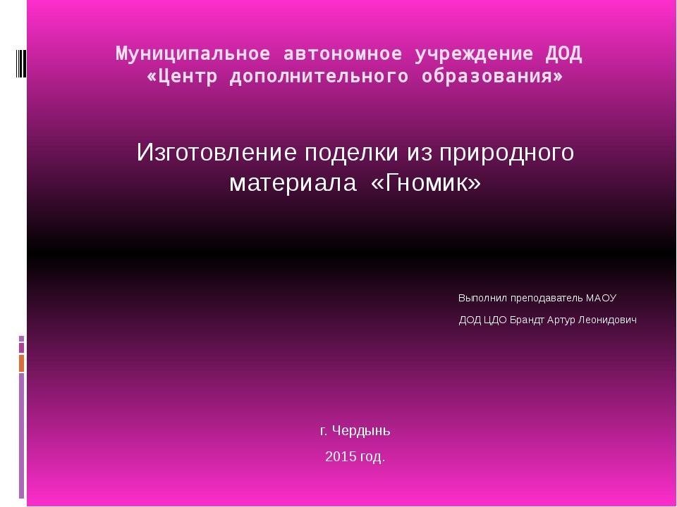 Муниципальное автономное учреждение ДОД «Центр дополнительного образования» И...