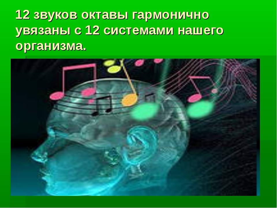 12 звуков октавы гармонично увязаны с 12 системами нашего организма.