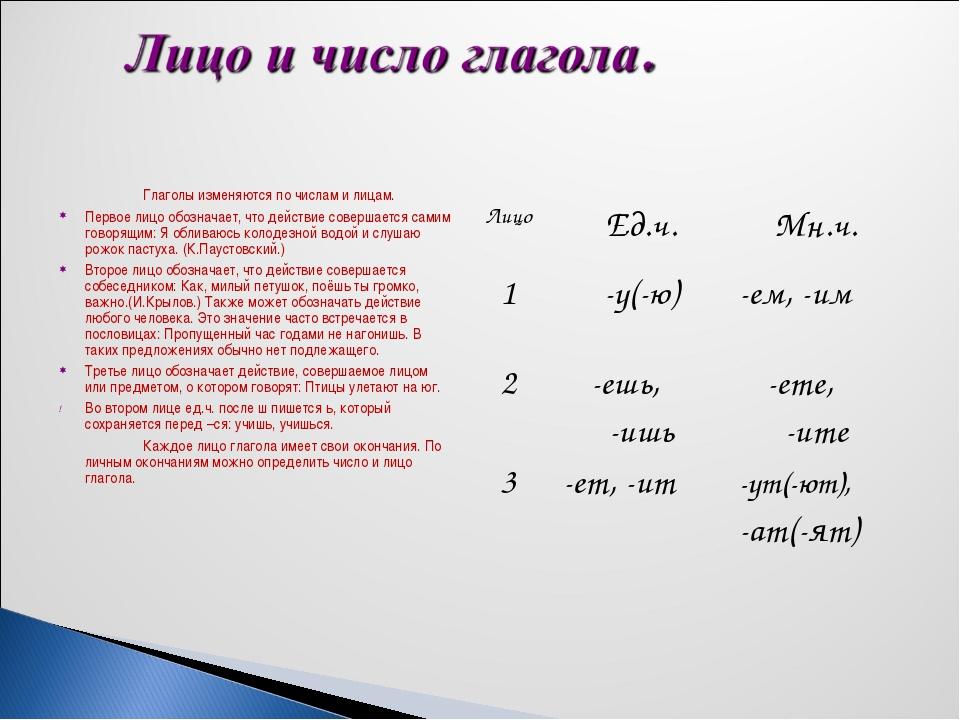 Глаголы изменяются по числам и лицам. Первое лицо обозначает, что действие...