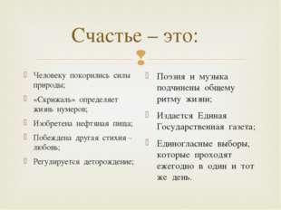 Счастье – это: Человеку покорились силы природы; «Скрижаль» определяет жизнь