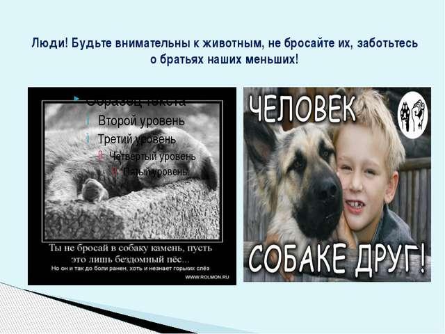 Люди! Будьте внимательны к животным, не бросайте их, заботьтесь о братьях наш...
