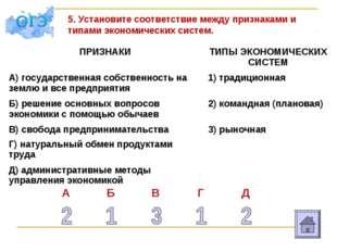 5. Установите соответствие между признаками и типами экономических систем. ПР