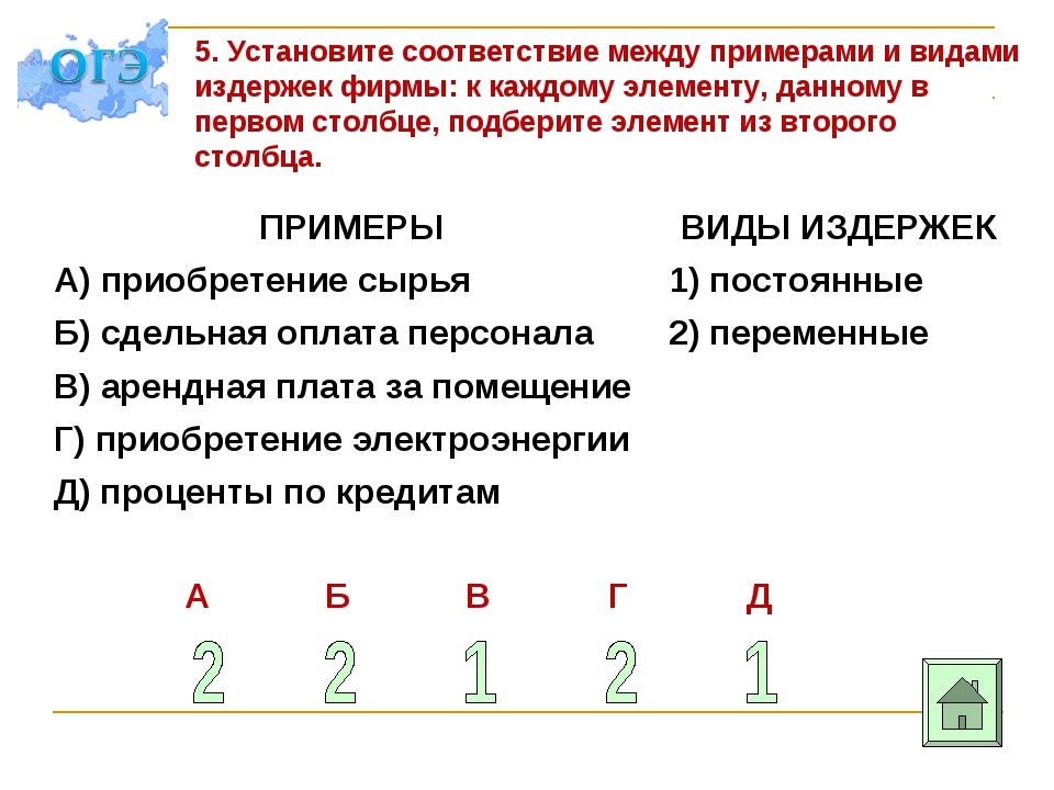 5. Установите соответствие между примерами и видами издержек фирмы: к каждому...