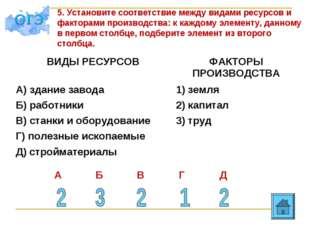 5. Установите соответствие между видами ресурсов и факторами производства: к