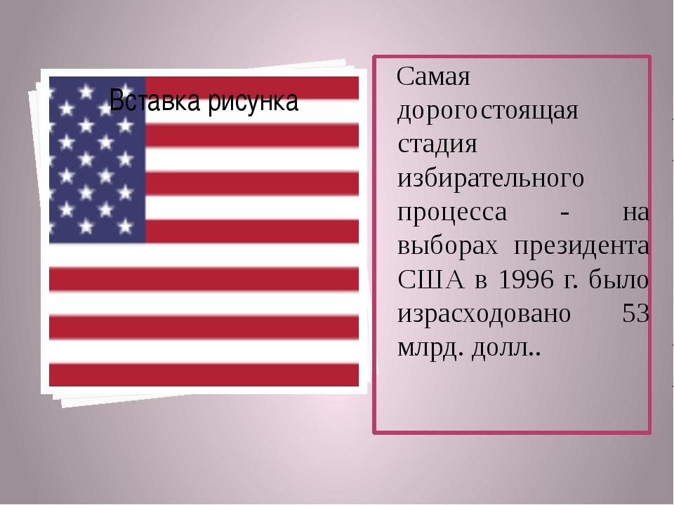 Самая дорогостоящая стадия избирательного процесса - на выборах президента СШ...