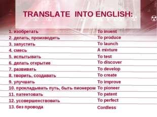 TRANSLATE INTO ENGLISH: 1. изобретать 2. делать, производить 3. запустить 4.