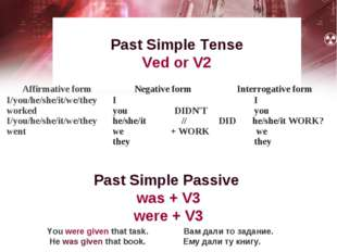 Past Simple Tense Ved or V2 You were given that task. Вам дали то задание. He