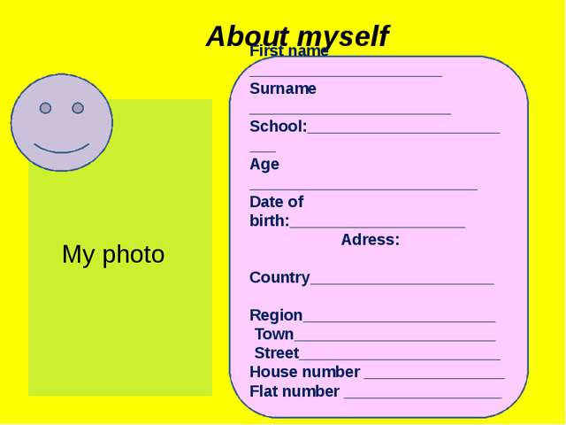 About myself First name ______________________ Surname ______________________...