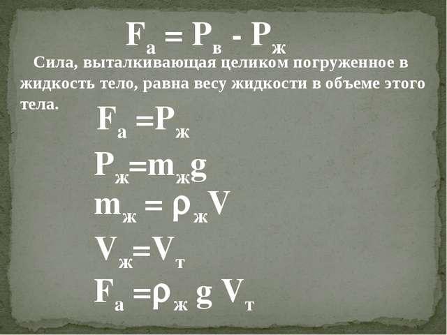 Fa = Pв - Pж Сила, выталкивающая целиком погруженное в жидкость тело, равна в...