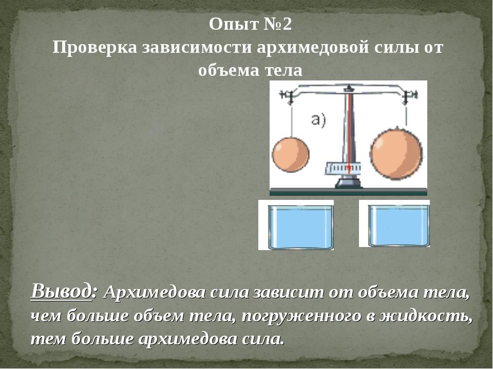 Опыт №2 Проверка зависимости архимедовой силы от объема тела Вывод: Архимедо...