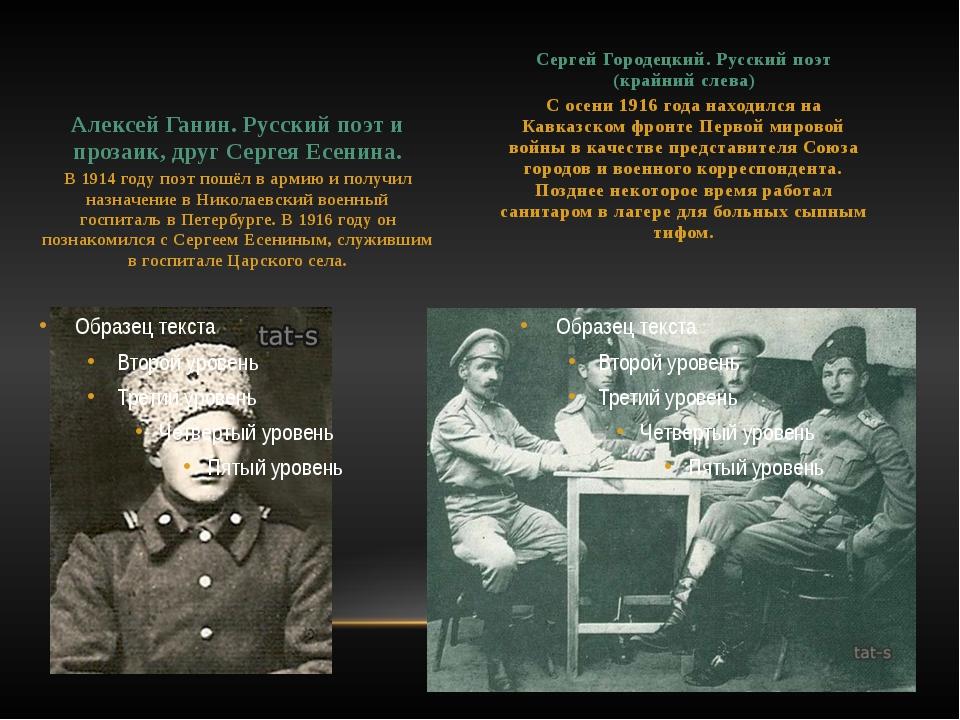 Алексей Ганин. Русский поэт и прозаик, друг Сергея Есенина. В 1914 году поэт...