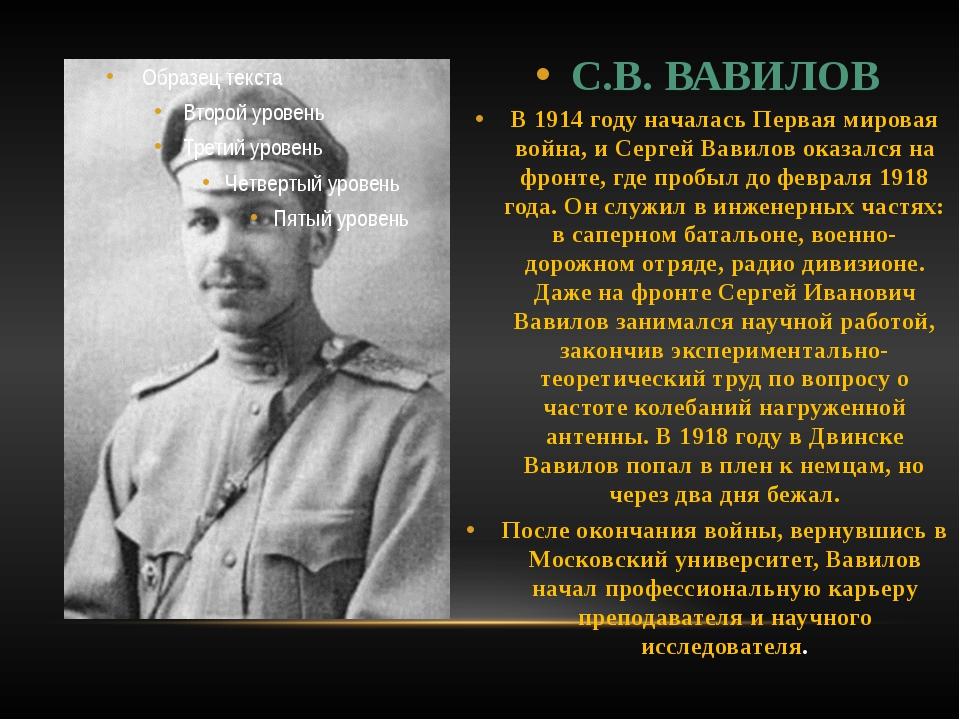С.В. ВАВИЛОВ В 1914 году началась Первая мировая война, и Сергей Вавилов оказ...