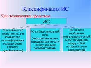 Классификация ИС 5)по техническим средствам ИС Простейшая ИС (работает на 1-м