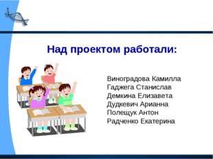 Над проектом работали: Виноградова Камилла Гаджега Станислав Демкина Елизавет