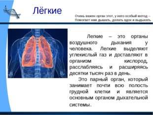 Лёгкие Очень важен орган этот, у него особый метод – Помогает нам дышать, дел