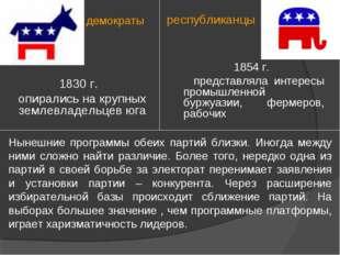 демократы республиканцы 1830 г. опирались на крупных землевладельцев юга 1854