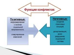 Функции конфликтов: Позитивные: информирование о наличии социальной напряженн