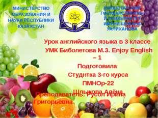 Урок английского языка в 3 классе УМК Биболетова М.З. Enjoy English – 1 Подг