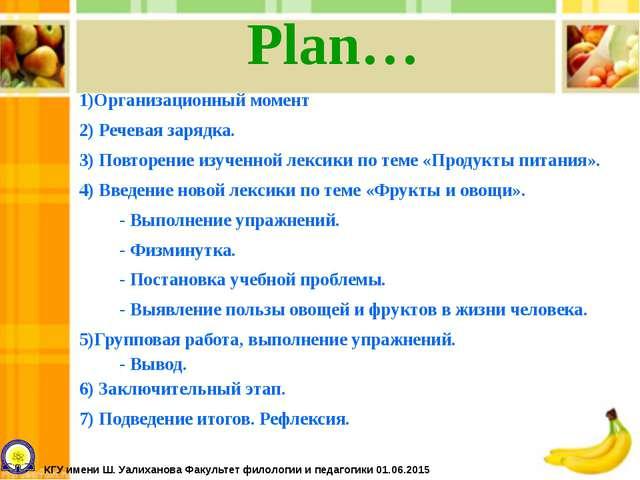 Plan… 1)Организационный момент 2) Речевая зарядка. 3) Повторение изученной ле...