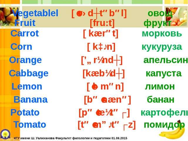 Carrot [ kærət] морковь Vegetablel [ˈvɛdʒtəbəl] овощ Fruit [fru:t] фрукт Cor...
