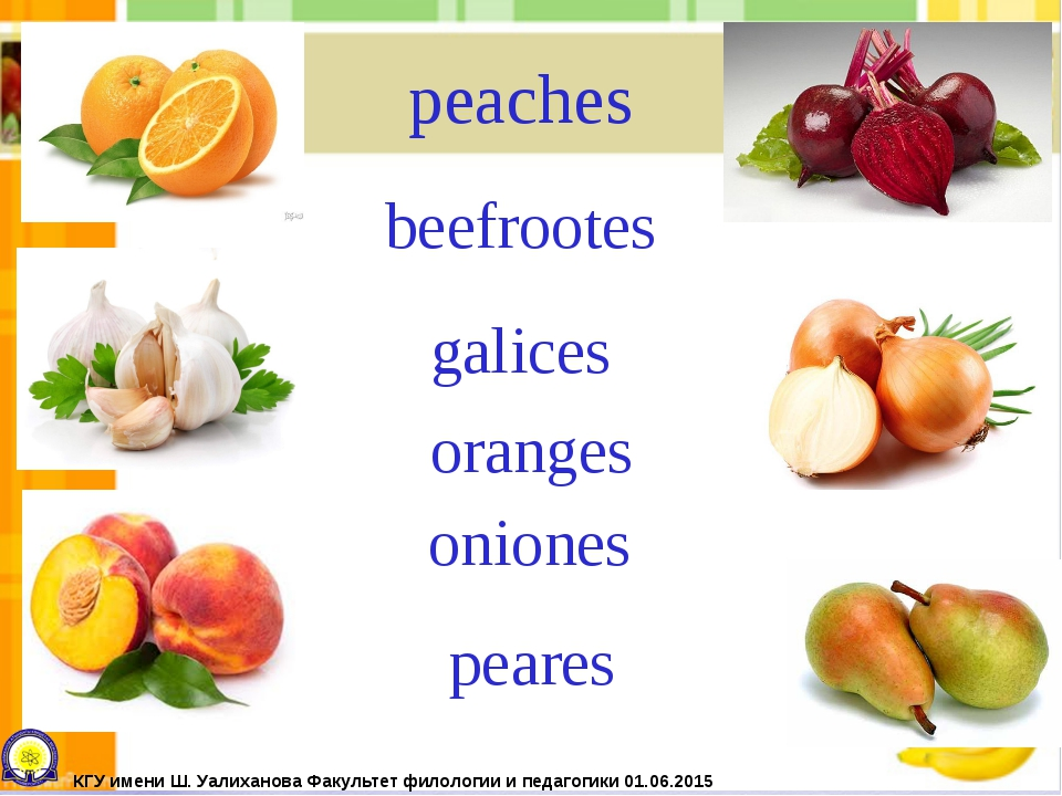 peaches beefrootes galices oranges oniones peares КГУ имени Ш. Уалиханова Фак...