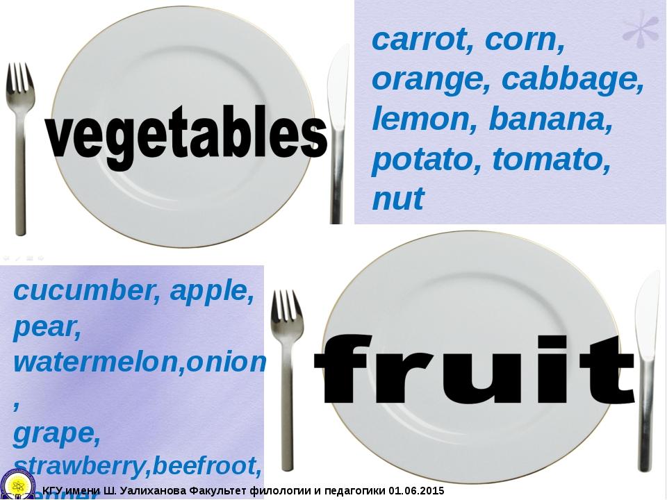 carrot, corn, orange, cabbage, lemon, banana, potato, tomato, nut cucumber, a...