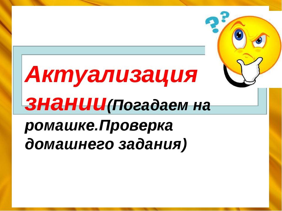 Актуализация знании(Погадаем на ромашке.Проверка домашнего задания)