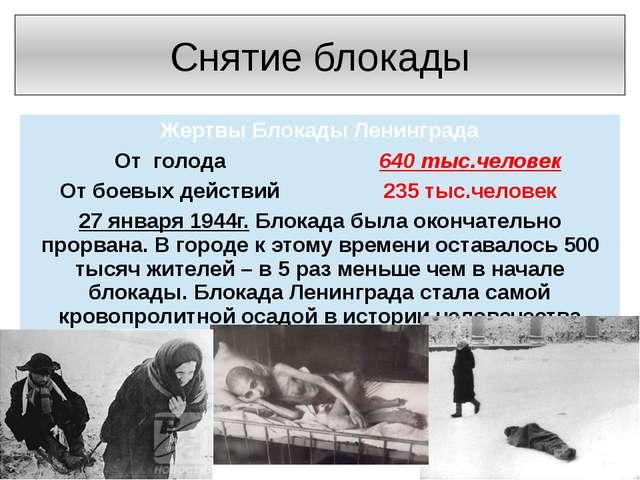 Снятие блокады Жертвы Блокады Ленинграда Отголода 640 тыс.человек От боевых д...