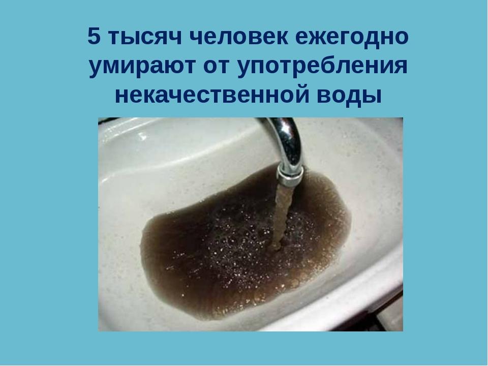5 тысяч человек ежегодно умирают от употребления некачественной воды