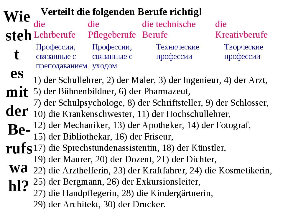 Wie steht es mit der Be- rufswa hl? Verteilt die folgenden Berufe richtig! 1)...