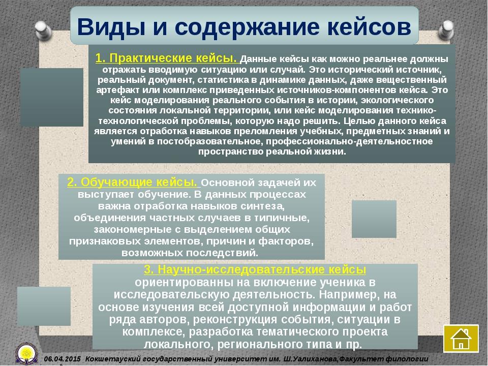 Виды и содержание кейсов 06.04.2015 Кокшетауский государственный университет...