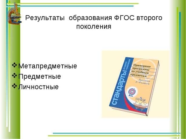 Результаты образования ФГОС второго поколения Метапредметные Предметные Лич...
