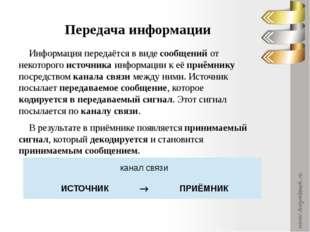 Примеры: сообщение, содержащее информацию о прогнозе погоды, передаётся приём