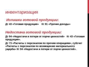 инвентаризация Излишки готовой продукции: Дт 43 «Готовая продукция» Кт 91 «Пр