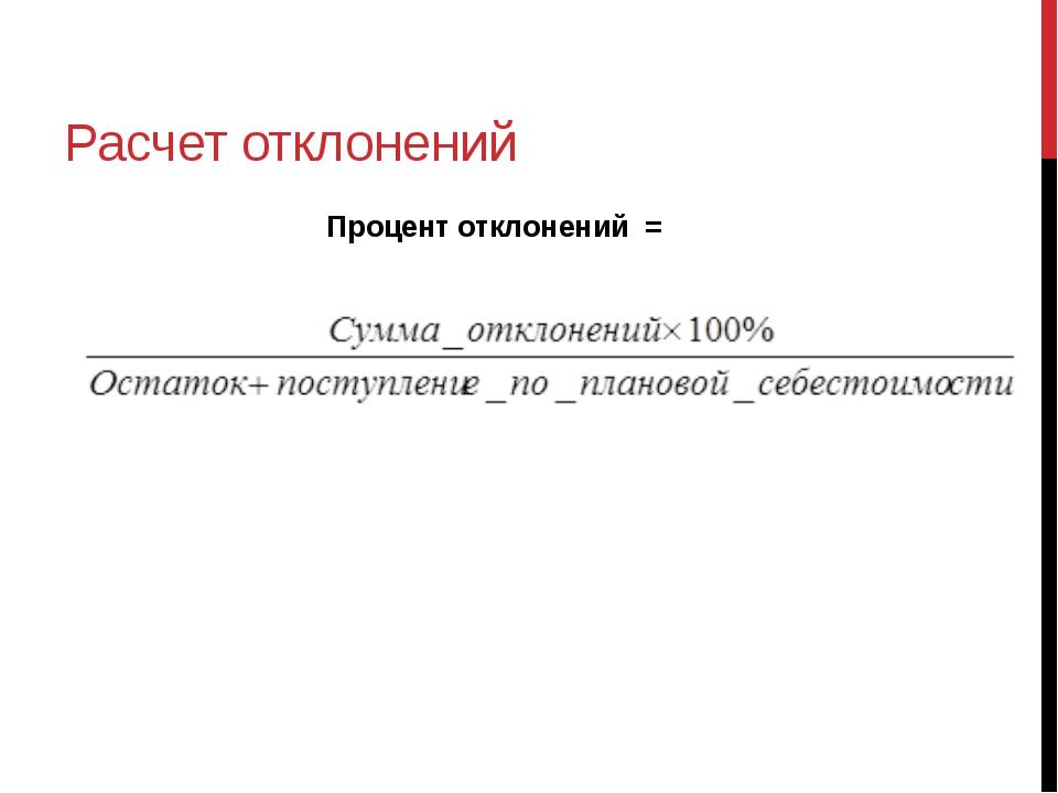 Расчет отклонений Процент отклонений = Шегольков Д.А.