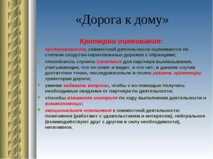 «Дорога к дому» Критерии оценивания: продуктивность совместной деятельности о
