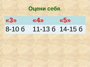 Оцени себя. «3»«4»«5» 8-10 б11-13 б14-15 б