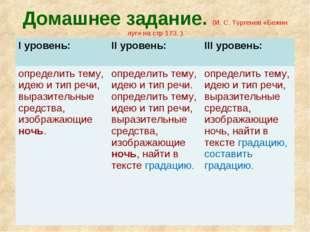 Домашнее задание. (И. С. Тургенев «Бежин луг» на стр 173. ) I уровень: II ур