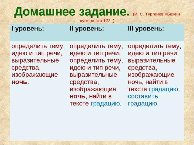 Домашнее задание. (И. С. Тургенев «Бежин луг» на стр 173. ) I уровень: II ур...