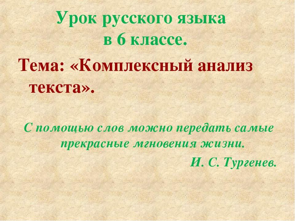 Урок русского языка в 6 классе. Тема: «Комплексный анализ текста». С помощью...