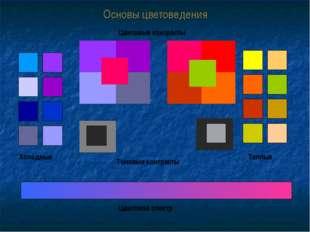 Основы цветоведения Холодные Теплые Цветовые контрасты Тоновые контрасты Цвет