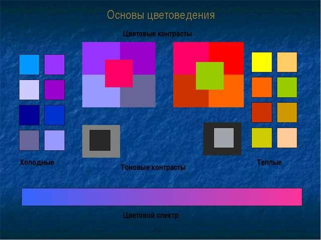 Основы цветоведения Холодные Теплые Цветовые контрасты Тоновые контрасты Цвет...