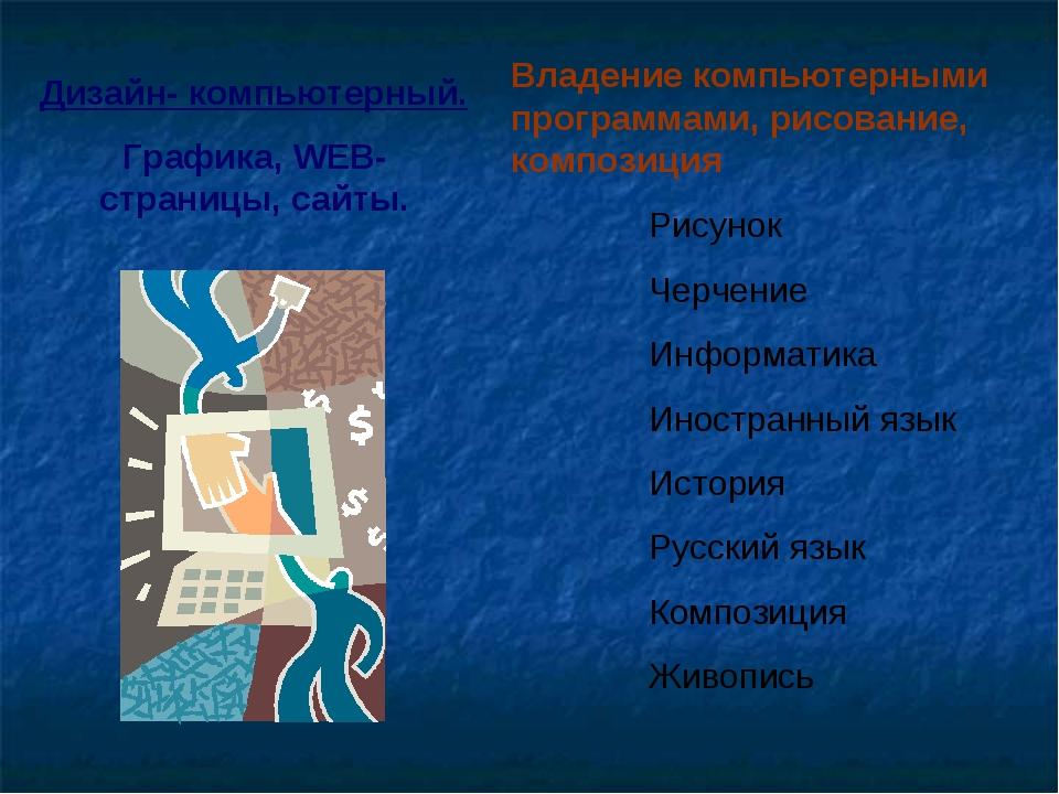 Дизайн- компьютерный. Графика, WEB-страницы, сайты. Владение компьютерными пр...