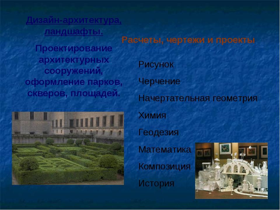 Дизайн-архитектура, ландшафты. Проектирование архитектурных сооружений, оформ...