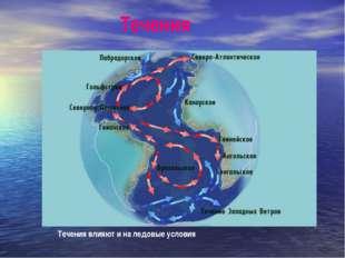 Течения Течения влияют и на ледовые условия