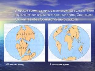 В юрское время материк раскололся под воздействием внутренних сил земли на от