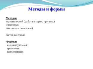 Методы и формы Методы: практический (работа в парах, группах) словесный част